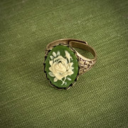 Green and White Flower Cameo Ring