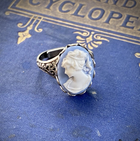 Blue Lady Cameo Ring in Antiqued Silver