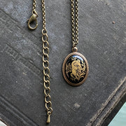 Vintage Zodiac Cameo Pendant Necklace in Antique Brass - choose a sign