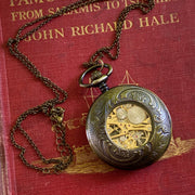 Mechanical Train Pocket Watch on Fob or Necklace Chain in Antiqued Brass