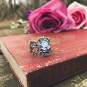 Blue Rose Cameo Filigree Ring in Antiqued Silver or Brass