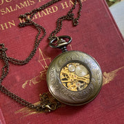 Brass Mechanical Pocket Watch 16 -on Fob or Necklace Chain