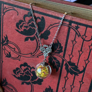 Dried Flower Globe Necklace- pick a color
