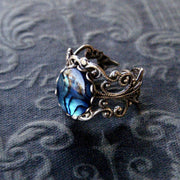 Blue Shell Filigree Ring in Antique Silver