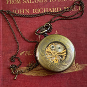 Mechanical Pocket Watch in Antiqued Brass on Necklace Chain or Pocket Chain - Vintage Snowflake Design