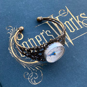 Vintage Compass Filigree Cuff Adjustable Bracelet - Antiqued Brass