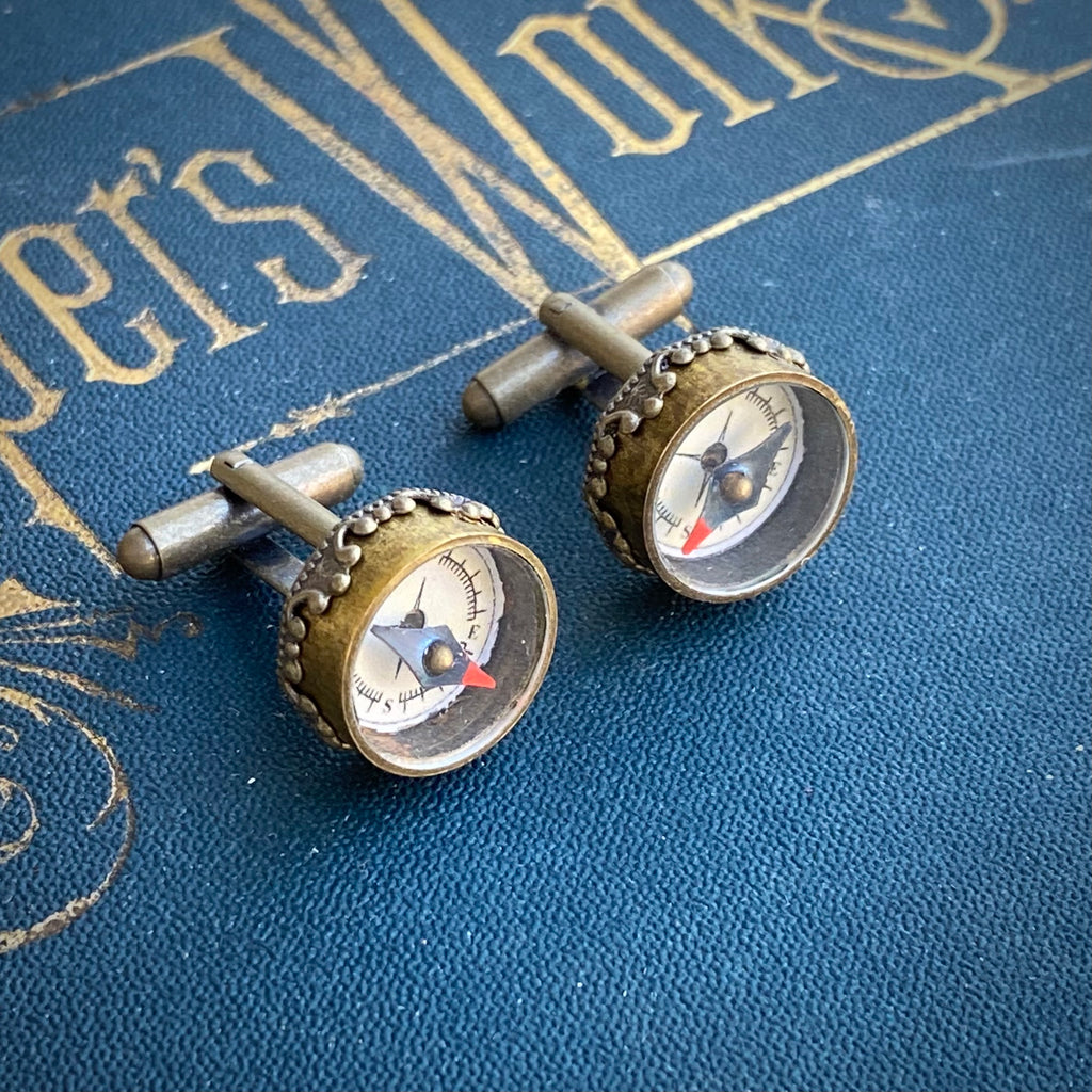 Bronze Compass Cuff Links in Antique Brass Setting - Working Antiqued Vintage Style Compass