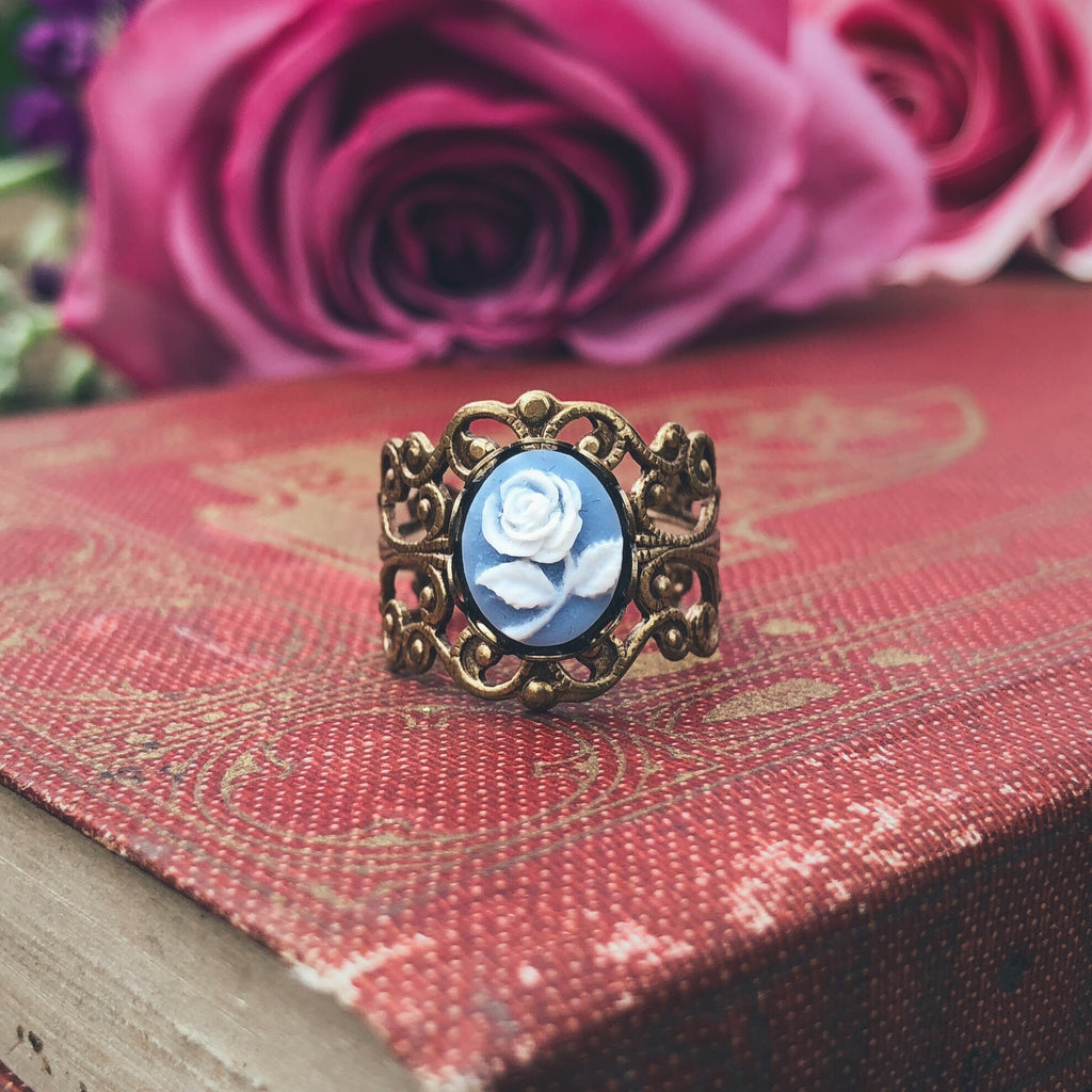 Blue Rose Filigree Ring