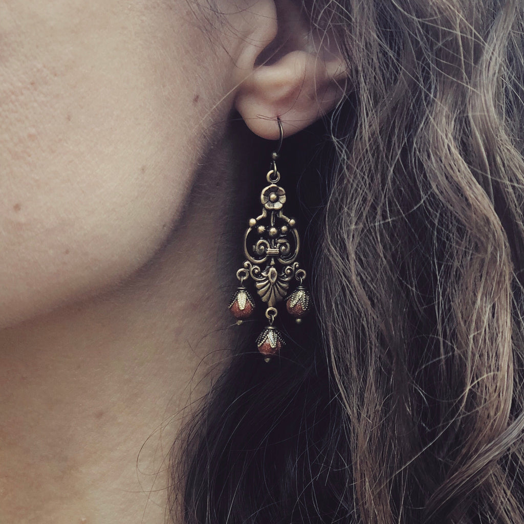 Goldstone Chandelier Earrings