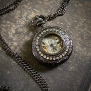 Rhinestone Mechanical Pocket Watch Pendant- Pocket Chain or Necklace - Gunmetal Black