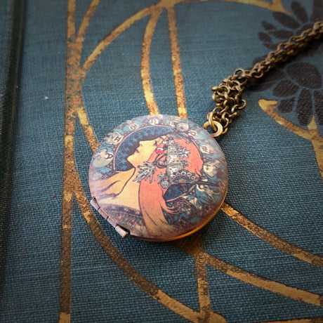 Brass Lady Locket Pendant Necklace