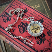 Black Mechanical Pocket Watch -on Fob or Necklace