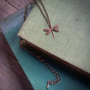 Tiny Victorian Dragonfly Necklace