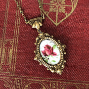 Vintage China Plate Necklace- Small Brass Rose