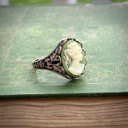 Green Lady Cameo Ring