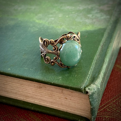 Aventurine Filigree Ring in Antiqued Brass