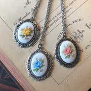 Vintage Rose Cameo Necklace- Pick a Color