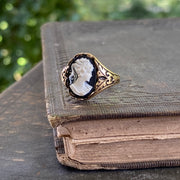 Black and White Lady Cameo Ring in Antique Silver