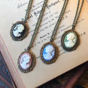 Cameo Lady Necklace in Silver - Pick a Color