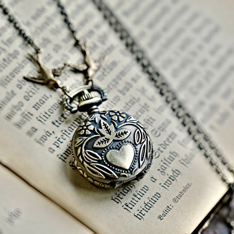 Brass Pocket Watch Necklace with Heart