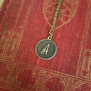 Initial Necklace- in Antiqued Brass or Silver
