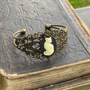 Cat Filigree Cuff Adjustable Bracelet in Black and White - Antiqued Brass