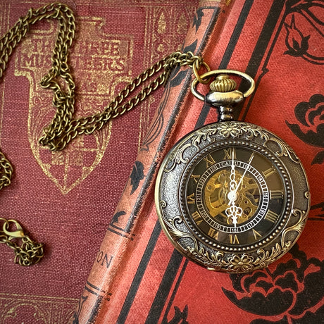 Floral Pocket Watch- on Necklace or Pocket Chain