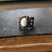 Filigree Ring - White Howlite Stone and Silver