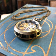 Mechanical Pocket Watch - Bronze Silver or Black on Fob or Necklace