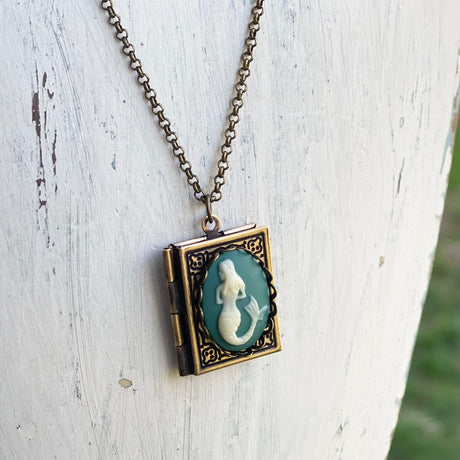 Mermaid Cameo Book Locket in Antique Brass