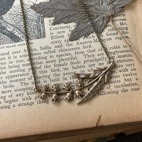 Lily of the Valley Necklace in Antiqued Brass