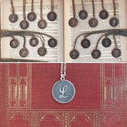 Letter Charm Necklace with Birds- in Antiqued Brass or Silver.