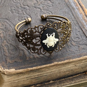 Cameo Cuff Bracelet- Honey Bee, Dragonfly or Flower and Adjustable