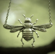 Bee Charmer Pendant Necklace in Antiqued Brass, Silver or Patina