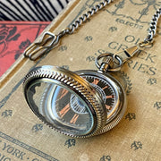 Black and Bronze Pocket Watch- on Necklace or Pocket Chain