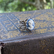 Blue Cameo Ring in Antique Silver