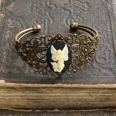 Angel Cameo Cuff Bracelet- Adjustable Antiqued Bronze Vintage Victorian Filigree Style Thistle Horse