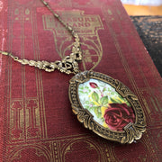 Vintage China Plate Necklace- Large Brass Rose