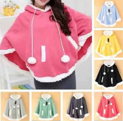 Candy Color Cloak Fleece Hoodie Cape PC8233 (different colors) - KAWAII COLLECTIONS