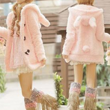 Soft Pink/White Fleece Ears Outerwear ST2783 [Pink/White Available] - KAWAII COLLECTIONS