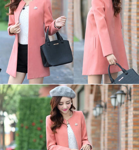 Solid Color Women Coats Outerwear TC8163 - KAWAII COLLECTIONS
