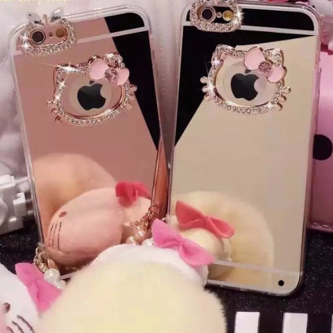 Hello Kitty Rhinestone Mirror iPhone Case SP3481 [Pink/Gold Available]