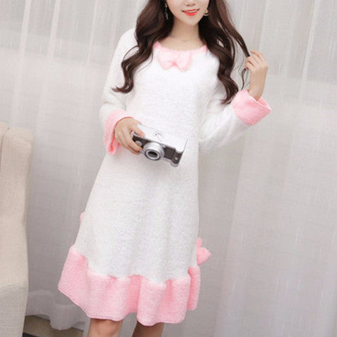 Pink Soft Fleece Night Gown FG2351 [White/Pink/Purple Available] - KAWAII COLLECTIONS