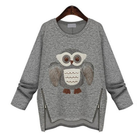 Winter Owl Print Long-Sleeved Sweater PT3371 - KAWAII COLLECTIONS