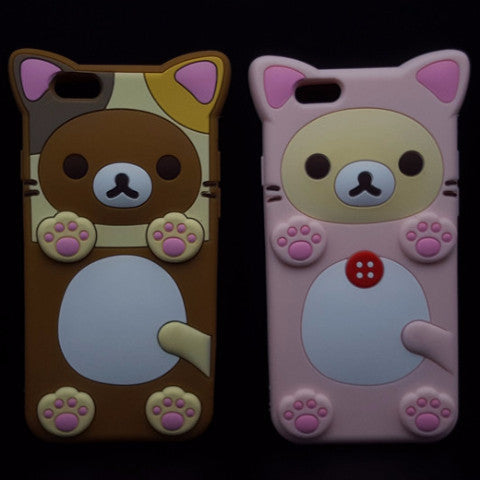 Rilakkuma Bear Soft Silicone Phone Case PS2677 [Brown/Pink Available]
