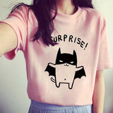 Surprise Bat Cat Short Sleeve Top WHT/PNK/GRY SC2381 - KAWAII COLLECTIONS
