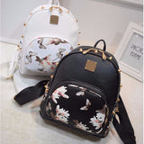Sakura Blossom Studded (BLK/WHT) Backpack SL3361 - KAWAII COLLECTIONS