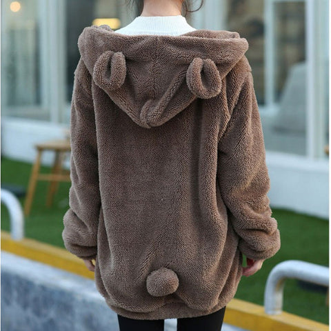 Thick Fluffy Hooded Bear Outerwear (BLK/BRWN/WHT) TS3327 (extra colors) - KAWAII COLLECTIONS