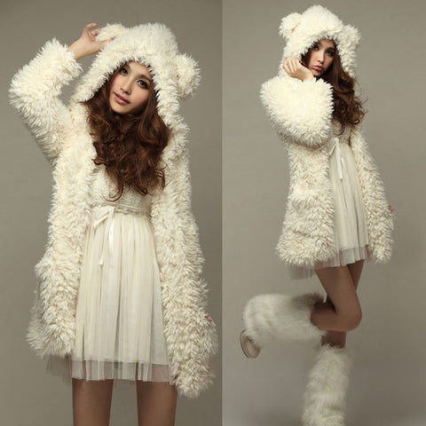 Thick Soft Fleece Fur BEIGE/BLACK Outerwear PW9903 - KAWAII COLLECTIONS