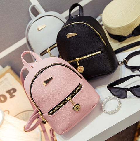 Leather Small Backpack BP3468 [3 Colors Available] - KAWAII COLLECTIONS